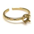 ブラス 指輪 リング ハンマード 空枠 4本爪(ラウンド/カボション用)4mm(真鍮ブラス・ゴールドカラー)(4個)