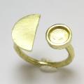 ハーフムーン リング 惑星 半月 指輪 6mm空枠(カボション用)真鍮ブラス・ゴールドカラー(2個)