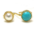 淡水パール(真珠)10mm+天然石ハウライト ターコイズ12mm(ベゼルラウンド)(真鍮ブラス・ゴールドカラー)(1個)