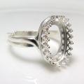 指輪リング空枠クラウン(ベゼルセッティング/カボション用)(オーバル14×10mm)調整式(真鍮ブラス・シルバープレーテッド)(1個)