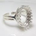 指輪リング空枠クラウン(ベゼルセッティング/カボション用)(オーバル14×10mm)(真鍮ブラス・シルバープレーテッド)(1個)