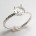 ブラス 指輪 リング ハンマード 空枠 4本爪(ラウンド/カボション用)5mm(真鍮ブラス・シルバーカラー)(3個)