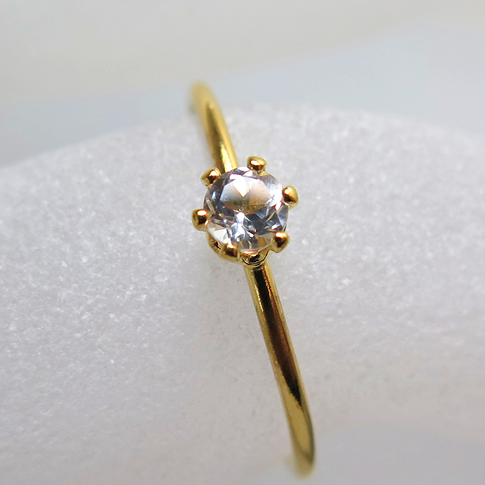 14kgfリング(指輪)天然石ホワイトトパーズ3mm(ラウンド)(サイズ目安:10号~11号)「ゴールドフィルド」(1個)
