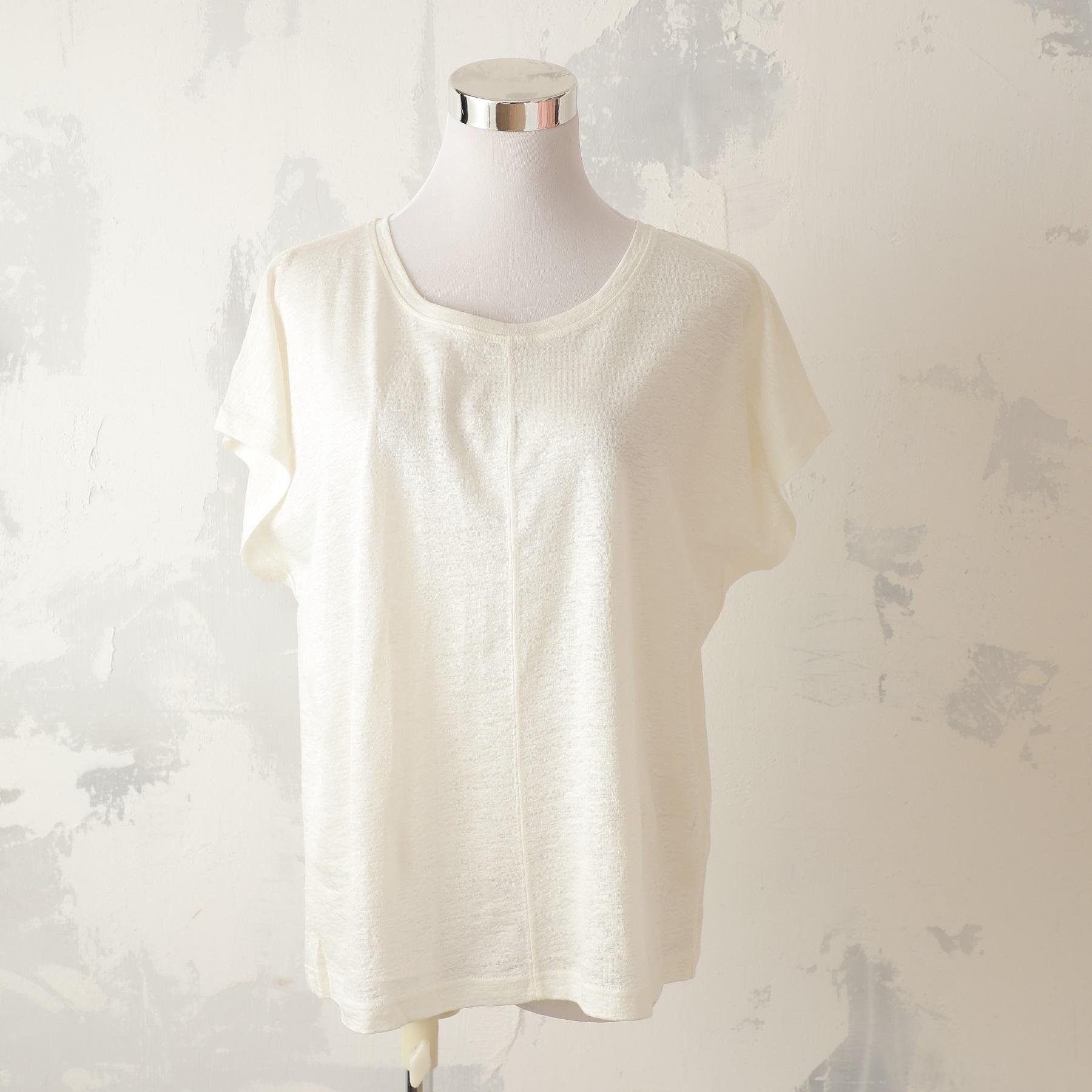 【半額★Mサイズのみ】リネン100% フレンチTシャツ