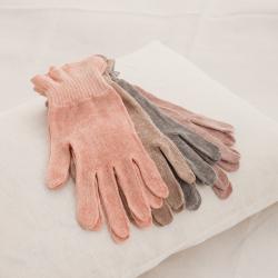 麻福ヘンプ おやすみ手袋 べんがら茜色