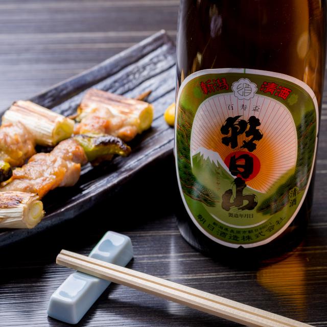 焼き鳥に合う日本酒「朝日山 百寿盃」