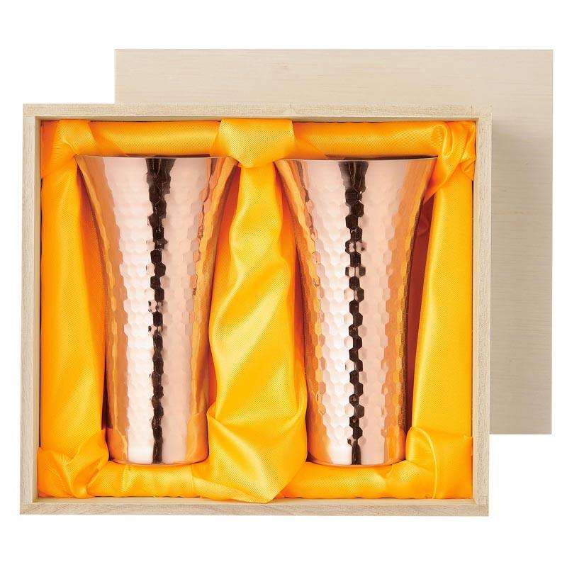 食楽工房 純銅ビアカップ 380ml 2PCセット 木箱入 【ギフト・贈答品】【made in Tsubame メイド・イン・ツバメ認定商品】