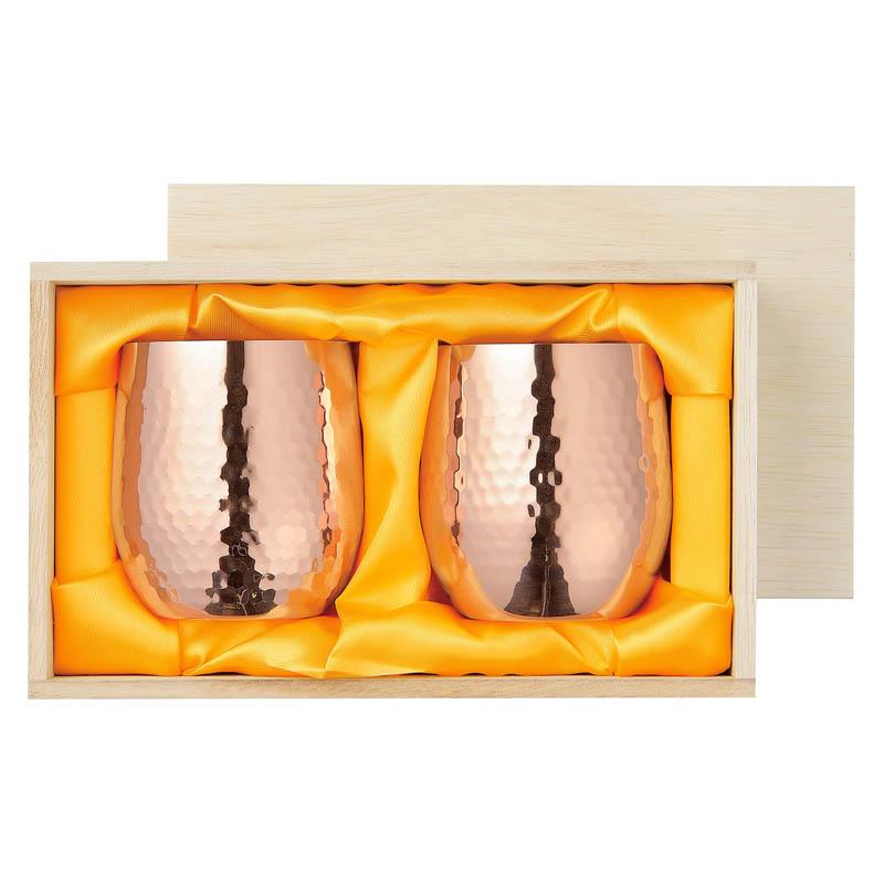 食楽工房 純銅ロックカップ2PCセット 木箱入【ギフト・贈答品】【made in Tsubame メイド・イン・ツバメ認定商品】