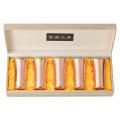 CNE925 純銅鎚目一口ビール5PCセット布金茶【木箱入】