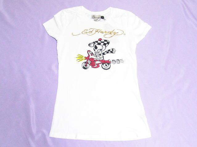 エドハーディー ハワイ限定 レディース スピーディー Tシャツ ホワイト Lサイズ(ゴールドロゴ) vv xm