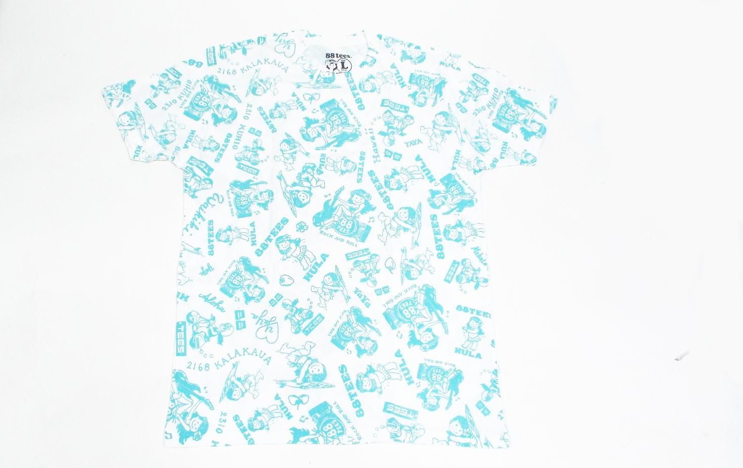88TeesオリジナルTシャツ メンズ ロゴ L サイズホワイト/ブルー