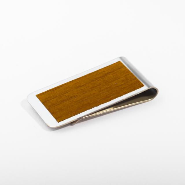mori no kami 森の紙 薄い マネークリップ 55mm チーク×シルバー 木 ウッド デザイン メール便