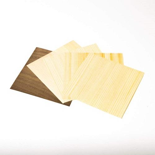 森の紙 曲がる 極薄 天然木 折り紙 杉 ひのき ウォルナット 小 ランダム 5枚セット 100×100mm メール便