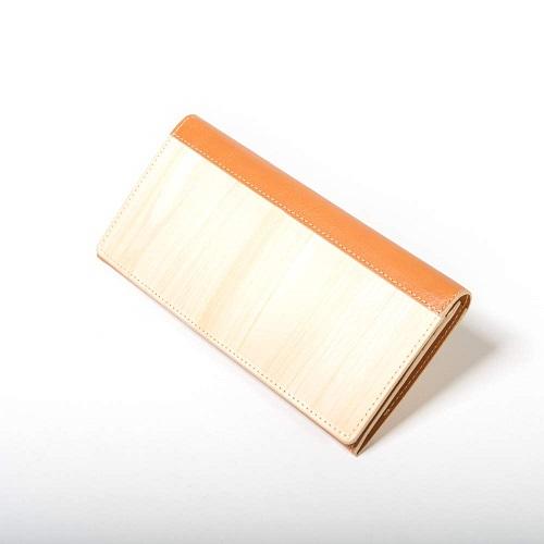 限定品 mori no kami 森の紙 天然木 長財布 二つ折り財布 杉 ひのき ウォルナット 牛革使い メール便