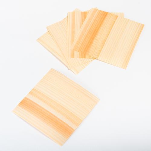 森の紙 曲がる 極薄 天然木 折り紙 杉 小 5枚セット 100×100mm メール便