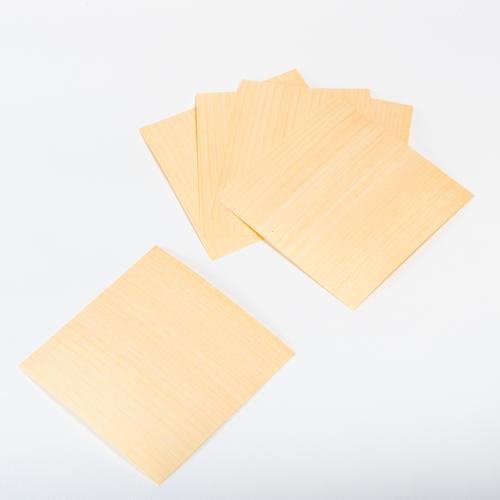 森の紙 曲がる 極薄 天然木 折り紙 ひのき 大 5枚セット 150×150mm メール便