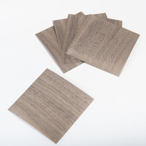 森の紙 曲がる 極薄 天然木 折り紙 ウォルナット 大 5枚セット 150×150mm メール便