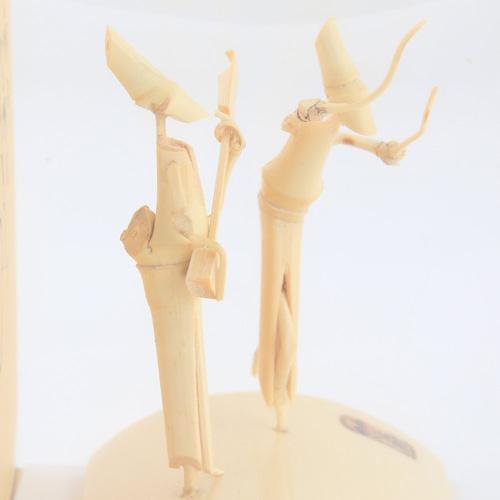時代屋 阿波の名工 竹人形 阿波踊り 匠の技 藤澤英文(号 竹海)謹製 刻印入り (三味線と女踊り)