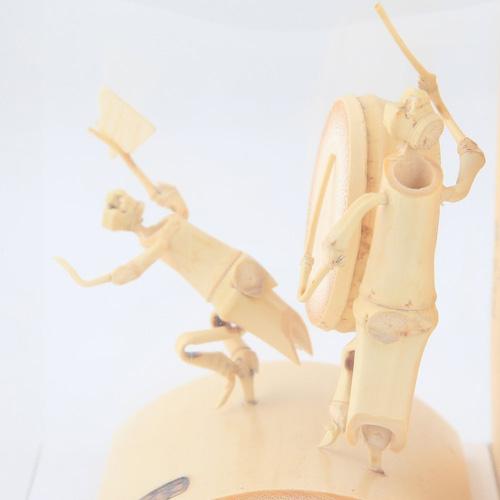 時代屋 阿波の名工 竹人形 阿波踊り 匠の技 藤澤英文(号 竹海)謹製 刻印入り (大太鼓と男踊り)