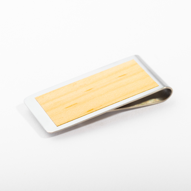 mori no kami 森の紙 薄い マネークリップ 55mm メープル×シルバー 木 ウッド デザイン メール便