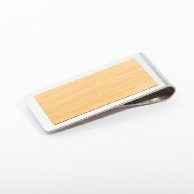 mori no kami 森の紙 薄い マネークリップ 55mm オーク×シルバー 木 ウッド デザイン メール便