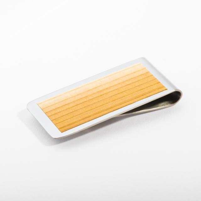 mori no kami 森の紙 薄い マネークリップ 55mm すぎ 杉×シルバー 木 ウッド デザイン メール便