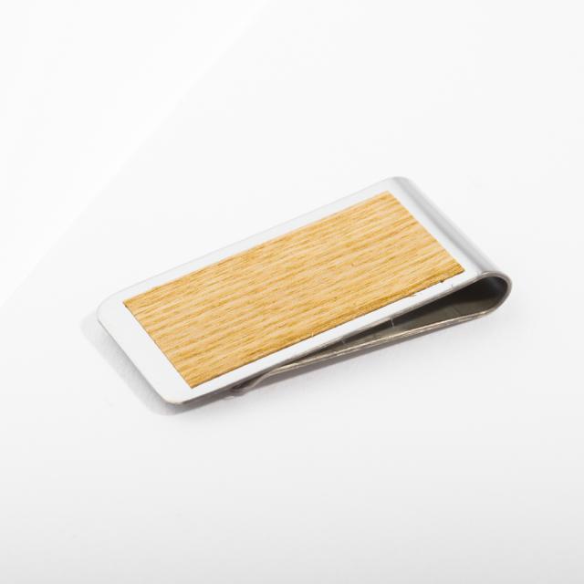 mori no kami 森の紙 薄い マネークリップ 50mm タモ×シルバー 木 ウッド プレーン メール便