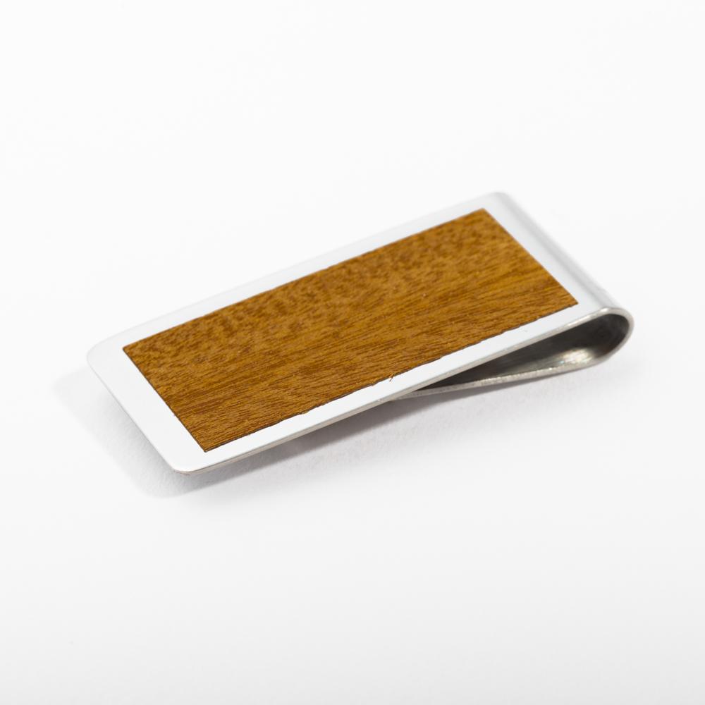 mori no kami 森の紙 薄い マネークリップ 55mm サペリ×シルバー 木 ウッド デザイン メール便