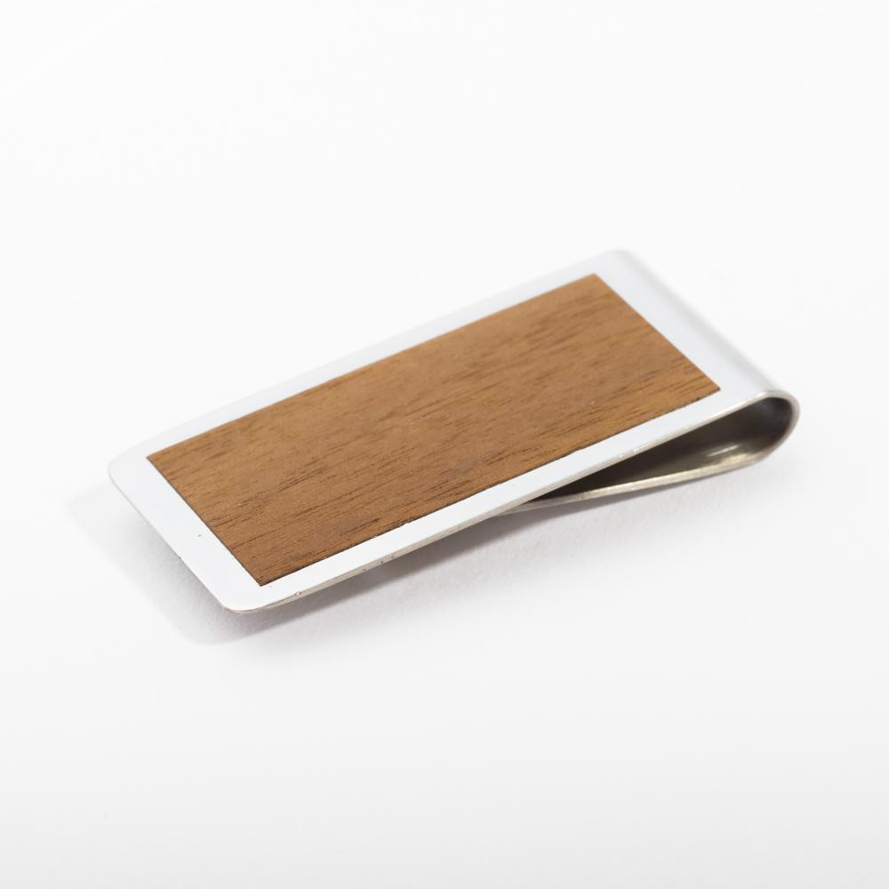 mori no kami 森の紙 薄い マネークリップ 55mm ウォルナット×シルバー 木 ウッド デザイン メール便