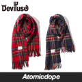 【Deviluse】Check Stole チェックストール マフラー 赤 紺 Red Navy デビルユース