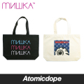 【MISHKA】LOGO KEEP WATCH TOTE BAG 鞄 黒 白 DRAWSTRING BAG Black Natural ミシカ