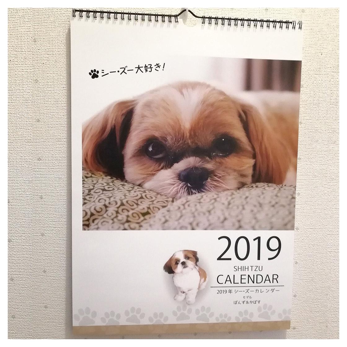 壁掛け2019年シーズーカレンダー モデル:《ぽんず&かぼす》