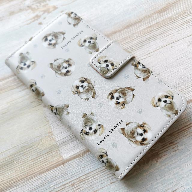 シーズー柄の手帳型スマホカバー