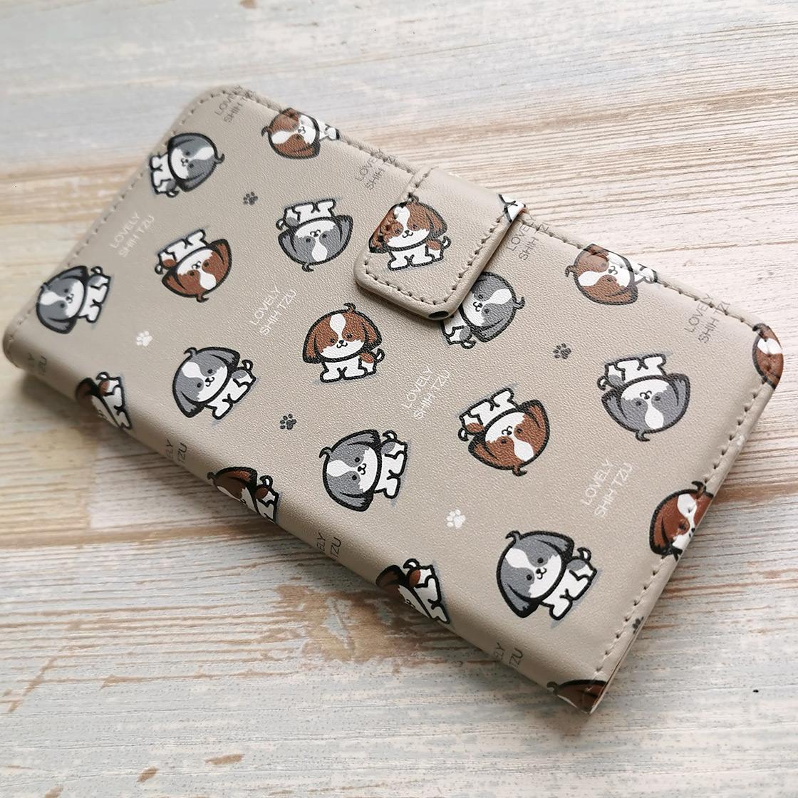 シーズーのイラスト柄 手帳型スマホカバー