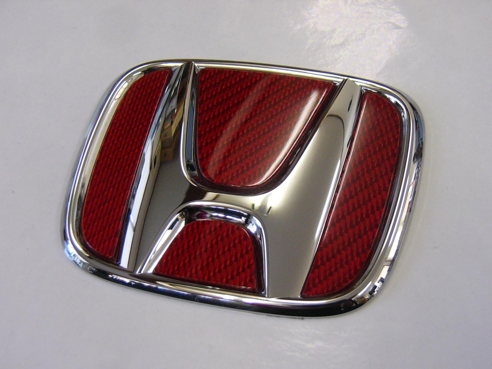 HONDAエディックスModulo製フロントグリル「TypeZZ」専用フロントエンブレムシルバーカーボン「レッドVer」フィニッシャー