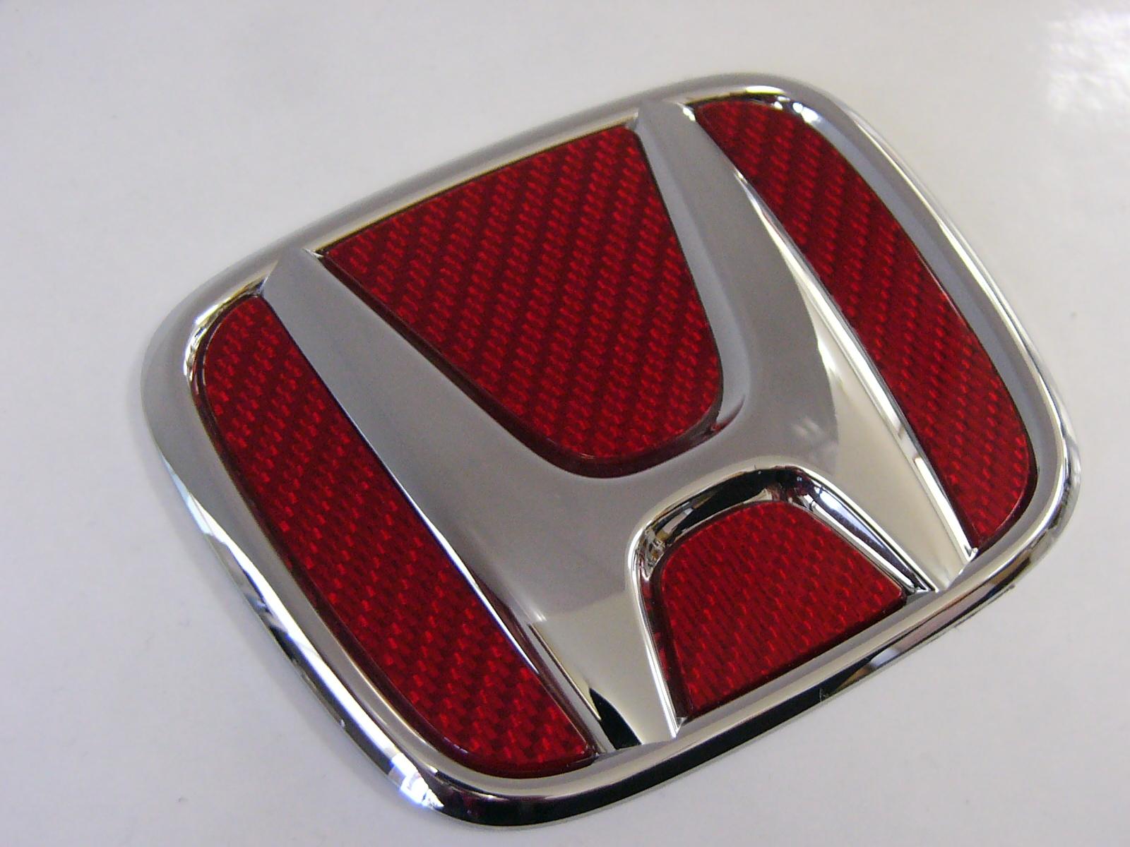 HONDAオデッセイModulo製フロントグリル「TypeYY」専用フロントエンブレムシルバーカーボン「レッドVer」フィニッシャー