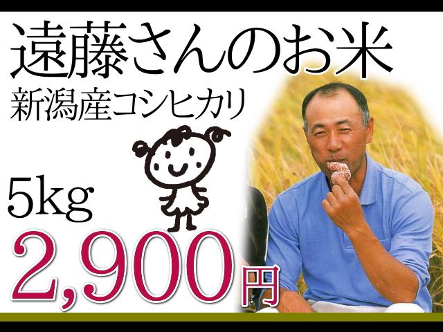 遠藤さんのお米。新潟産コシヒカリ5kg2,900円