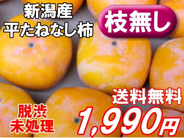 新潟産平たねなし柿4kg1990円!脱渋未処理、枝無し。