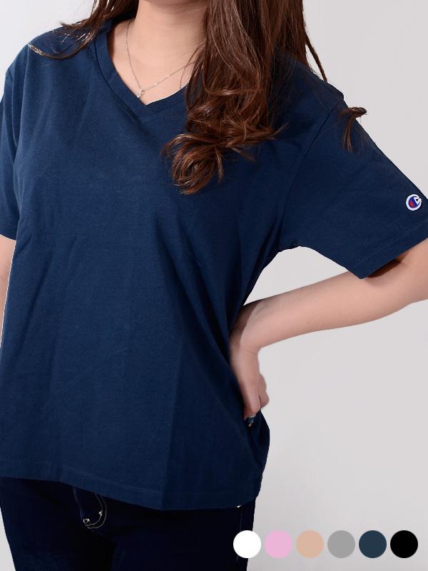 通販,CHAMPION,チャンピオン,Tシャツ,半袖,綿100%,ホワイト,無地,ウィメンズ,Vネック,CW-M332