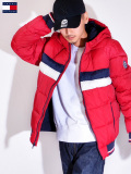 TOMMY,HILFIGER,トミー,ヒルフィガー,中綿ジャケット,メンズ,レディース,NYLON,QUILTEDCOLOR,BLOCKEDHOODY,BOMBER,JACKET,158AN594-R