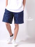 COOKMAN,クックマン,シェフパンツ,ショートパンツ,chef,pants,メンズ,レディース,男女兼用,Chef,Short,Pants,Stripe,Navy,231-01810