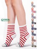 rasox,ラソックス,レディース,メンズ,ユニセックス,靴下,おしゃれ,かわいい,ブランド,コットン,ボーダー,クルー,CA130CR01