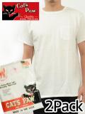 通販,CAT'S,PAW,キャッツポウ,Tシャツ,メンズ,無地,半袖,白,ホワイト,2枚セット,2枚組,パックT,ポケT,アメリカ製,CP77200