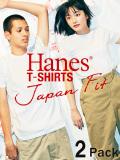 ヘインズ,Hanes,Tシャツ,ジャパンフィット,メンズ,レディース,半袖,無地,白,ホワイト,Japan,Fit,クルーネック,2枚組,2枚セット,H5110