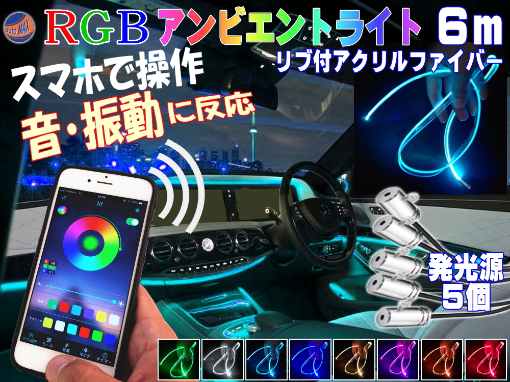 スマホで操作 RGBアンビエントライト キット 音に反応 サウンドセンサー リブ付き アクリルファイバーLED 6m 発光源5個セット スマートフォン iphone 音センサー 12V ラインイルミ 間接照明チューブ LEDライン ミミ付 フラッシュリレー ファイバーモール