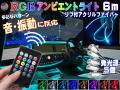 音に反応 RGBアンビエントライト キット リブ付き アクリルファイバーLED 6m 発光源5個セット ワイヤレスリモコン コントローラー付き 音センサー サウンドセンサー 12V ラインイルミ 間接照明チューブ LEDライン ミミ付 フラッシュリレー ファイバーモール