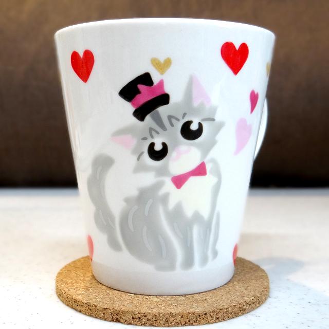 猫手描きオーダーマグカップ(名入れ)