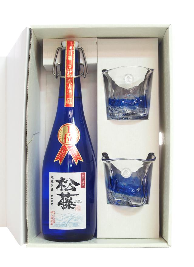 甕貯蔵 松藤 5年古酒 琉球グラス2個入りセット (720ml)