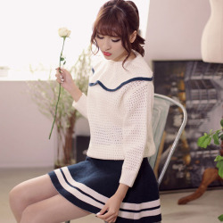 裾ボーダーライン・ミニスカート
