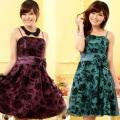 大きいサイズ・花柄・チュール・ドレス
